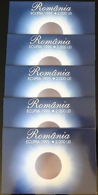 1999 Romania, 2000 Lei, Lot Of 5 Polymer Notes Consecutive #'s, Original Folders