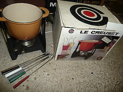 Kitchen le creuset FONDUE set 6061 + 6 forks, spirit burner & stand NEW