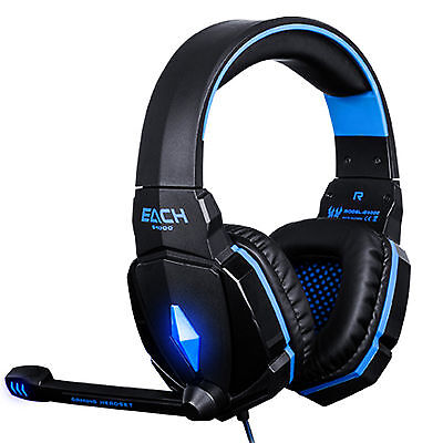 EACH G4000 PC Laptop 3.5mm Blue LED Surround Sound Gaming Headset Headphones MIC