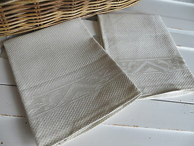 """Unused Set Of Two ( 2 )  Towels Runners Huck Linen Floral Patt 41 """"  Excellent"""