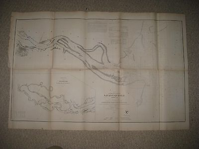Lrg Antique 1855 Savannah River Georgia South Carolina Maritime Map Tybee Island