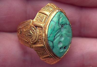Very Old 23 Karat Gold Over Bronze Carved Turquoise Stone SCORPION Intaglio Ring