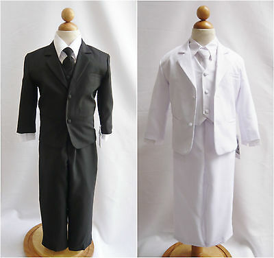 Infant toddler teen Boy black white communion wedding party formal vest tie suit