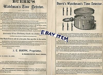 1873 advertisement Boston Massachusetts BUERK'S WATCHMAN'S TIME DETECTOR