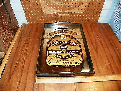 Vintage CHIVAS REGAL BLENDED SCOTCH WHISKY Mirrored Wood Serving Tray