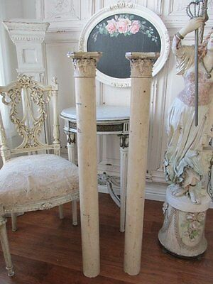 THE BEST PAIR Old Chippy WOOD ARCHITECTURAL COLUMNS with CAPITALS 3' Tall