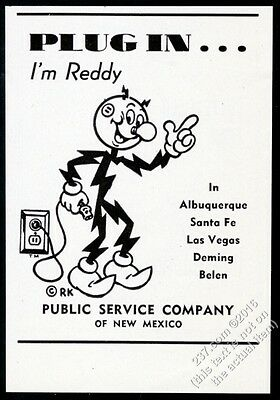 1949 Reddy Kilowatt art Plug In New Mexico Public Service vintage print ad
