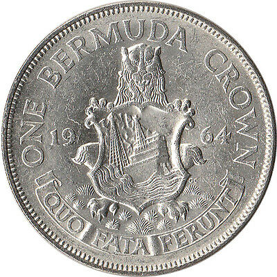 1964 Bermuda 1 Crown Large Silver Coin KM#14 Mintage 470,000 One Year Type