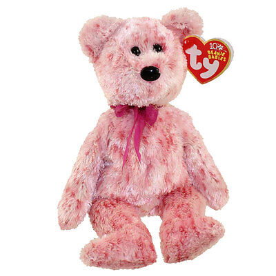 TY Beanie Baby - SMITTEN the Pink Bear (8.5 inch) - MWMTs Stuffed Animal Toy