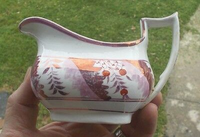 1830s EARLY PINK LUSTER STAFFORDSHIRE CREAMER BERRIES & LEAVES PATTERN