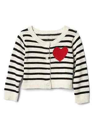 NWT GAP BABY GIRL 0-3 mos LOVE STRIPE BUTTON CARDIGAN RET 34.95  NOW $10