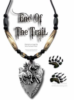 """Rugged End Of Trail Necklace  Carved Buffalo Bone Bead 24"""" Jewelry Free Ship #w*"""
