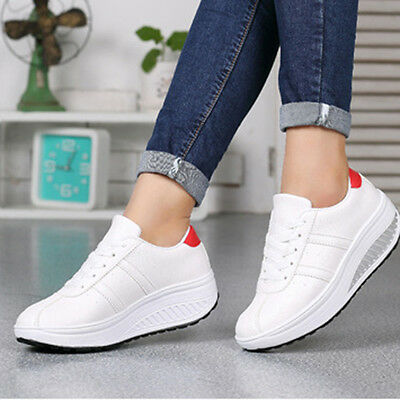 Women Girls Lace Up High Platform Wedge Sport Sneakers Trainers Casual Shoes