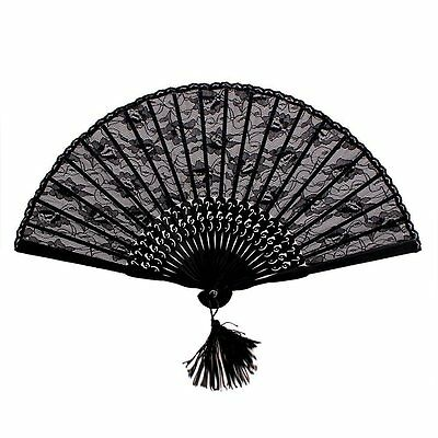 Folding Hand Fan Lace Spanish Gothic Victorian Party Favor Fancy Dress Black US
