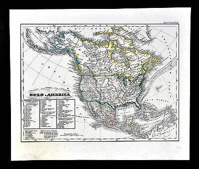 c.1848 Glaser Atlas Map - North America - United States Mexico California Texas