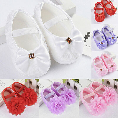 Newborn to 18M Infant Baby Girl Soft Sole Crib Shoes Prewalker Flower/Bow Shoes