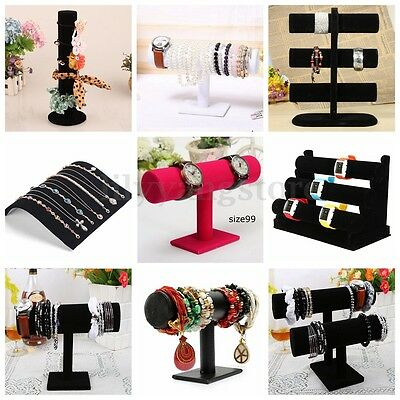 Boxes Case For Bangle Jewelry Ring Wrist Watch Black Velvet Display Holder Stand
