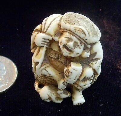 REAL DEAL  Antique NETSUKE Pre-1800 Japanese Carved Material No Longer Available