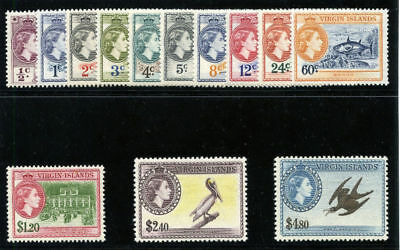 British Virgin Island 1956 QEII set complete MLH. SG 149-161. Sc 115-127.