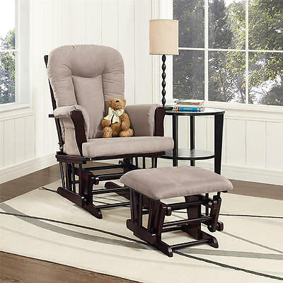 Dorel Glider Rocker and Ottoman - Espresso/Gray
