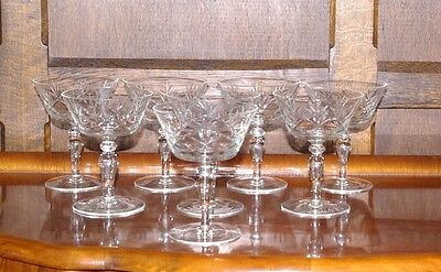 Set of Eight Champagne Coupes Saucers Pans Cocktail Glasses Cut Crystal Vintage