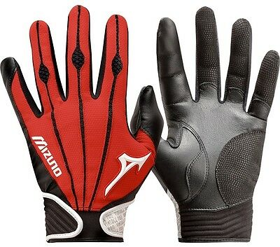 1 Pair Mizuno 330290 Vintage Pro Large Red Youth Batting Gloves New In Wrapper!