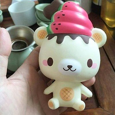 13cm Squishy Cute Watermelon Bear Squeeze Slow Rising Fun Toy Gift Phone Strap