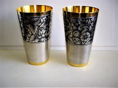 2 Russian Hallmarked Silver Niello & Parcel Gilt Vodka Cups V.g.c.