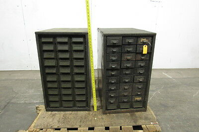 Addressograph Style 30 Drawer Steel Cabinet Steampunk Industrial Lot of 2