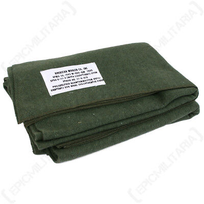 WW2 US Olive Wool Blanket - Repro American Bedding Sheet Army Camping Soldier