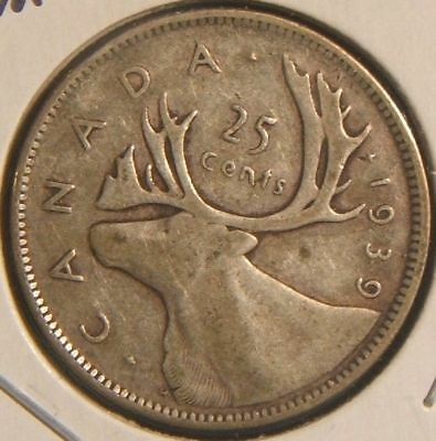 1939~~Canadian 25-Cent Piece~~Vf-Xf~~Silver