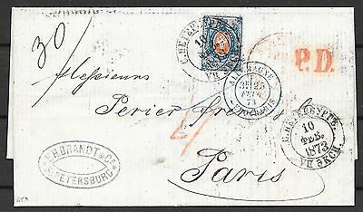 Russia covers 1873 folded letter St.Petersburg to Paris
