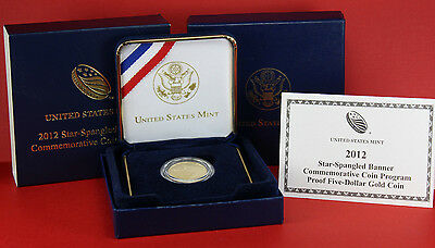 2012-W US Mint Star-Spangled Banner Commemorative Proof $5 Gold Coin COA & OGP