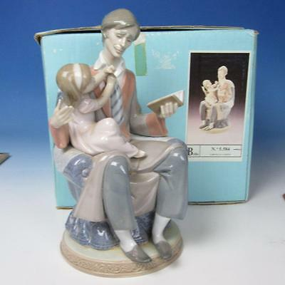 Lladro Porcelain Figure with Box - Father's Day Reading Book to Girl #5584