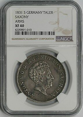 1831 S German States Saxony Arms Silver Taler XF 40 NGC Pop=1/0