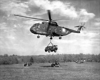 """CH-3C Helicopter Lifts Jeep During """"Gold Fire I"""" 11x14 Silver Halide Photo Print"""