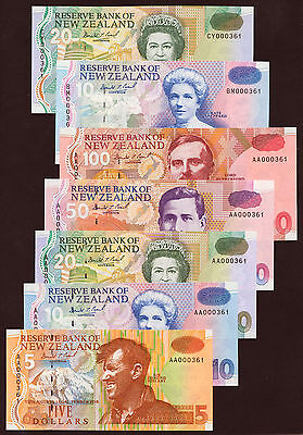New Zealand matching numbers Set (1992-97) 000361 UNC P.177-183