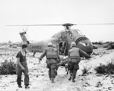 Marines Carrying Injured Men Into Helicopter 11x14 Silver Halide Photo Print