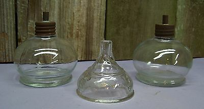 Antique Apothecary Chemist Pharmacy Glass Funnel, 2 Alcohol Bunsen Burners