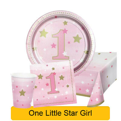 Age 1 - ONE LITTLE STAR GIRL 1st Birthday Party Range - Tableware & Decorations