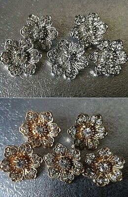5 Diamante Flower Shank Back Buttons Sewing Craft Embellishment 21mm Gold/Silver