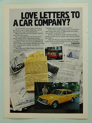 Volvo 1979 Vintage Magazine Ad Page Car / Automobile Advertising - Love Letters