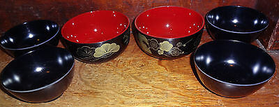 JAPANESE LACQUER WARE Bowls Red & Black Ginko (2) & 4 Melamine Black Bowls