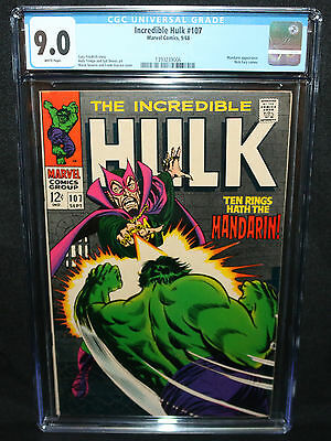 Incredible Hulk #107 - Mandarin App - Nick Fury App - CGC Grade 9.0 - 1968