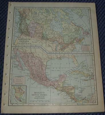 1902 Dominion Of Canada, Mexico, Central America, Part of West Indies Map