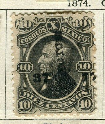 MEXICO;  1874 classic Optd. issue used 10c. value