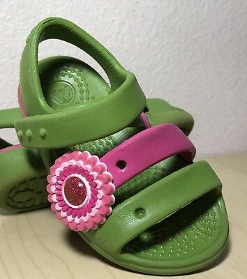 CROC Green Pink Rubbber Strappy Sandals Baby Toddler Size 4