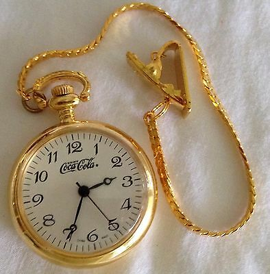 Coca Cola Pocket Watch Gold Tone Advertising Never Used
