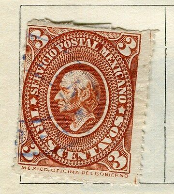 MEXICO;   1885 early classic Hidalgo issue fine used 3c. value