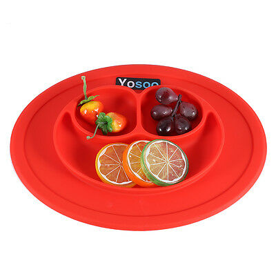 Silicone Baby Kids Suction Dinning Desk Food Tray Placemat Plate Tableware Red